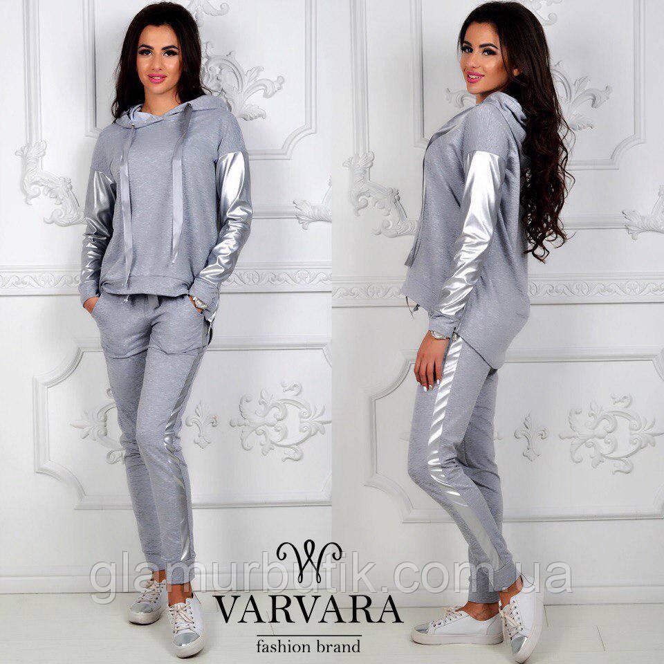 5e28f58d Женский спортивный костюм штаны с лампасами кофта батник с кожаными  вставками серый - GlamurButik - женская