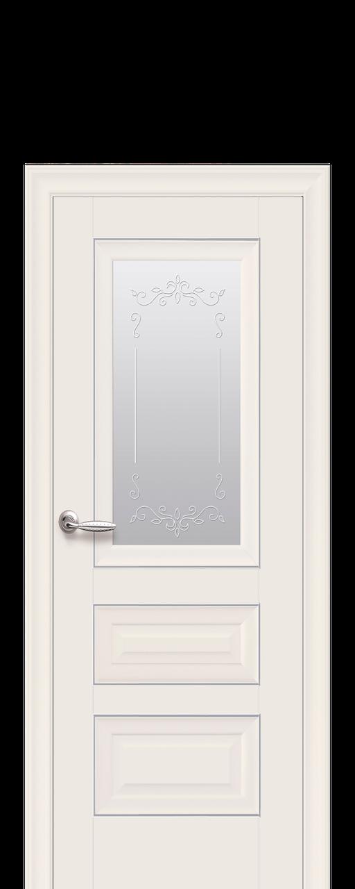 "Межкомнатные двери ""СТАТУС"" со стеклом сатин, молдингом и рисунком"