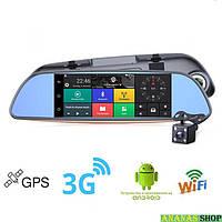 """Сенсорное Android зеркало DVR A6 заднего вида 7"""" с видеорегистратором,  2 камеры, GPS навигатор, 3G, WiFI"""