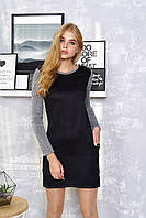 """Стильное женское прямое платье под замшу с длинными рукавами и карманами """"Орхидея"""" (чёрный)"""