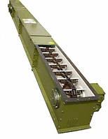 Скребковый конвейер длиной 4 м в коробе 200 мм укомплектован мотор-редуктором 1.1 кВт