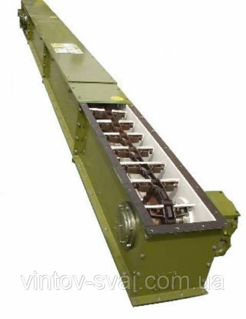Скребковий конвеєр довжиною 7 м в коробі 200 мм укомплектований мотор-редуктором 1.5 кВт