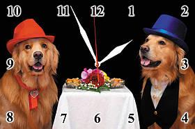 Часы настенные стеклянные Т-Ок 001 Собаки в ресторане SG-2003001