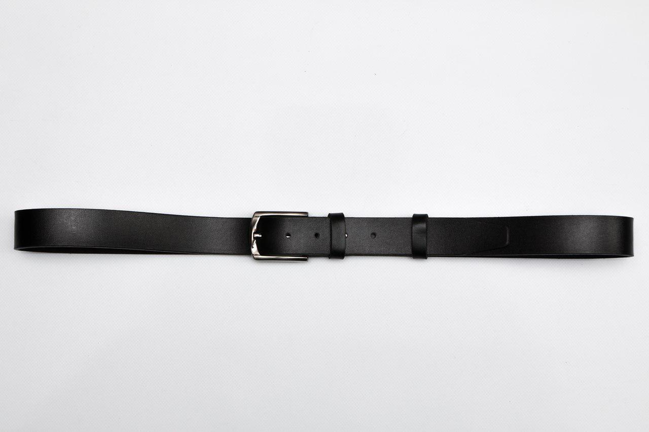Черный кожаный ремень мужской, классический