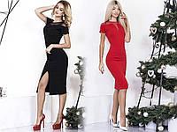 """Элегантное силуэтное миди-платье """"Sharon"""" с разрезом и коротким рукавом (2 цвета)"""