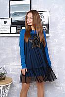 """Женское трендовое платье с сеткой сверху и нашивкой-пайетками """"Винтаж"""" (джинс)"""