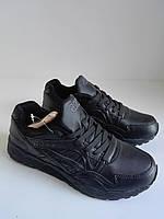 Женские кожаные черные кроссовки asics