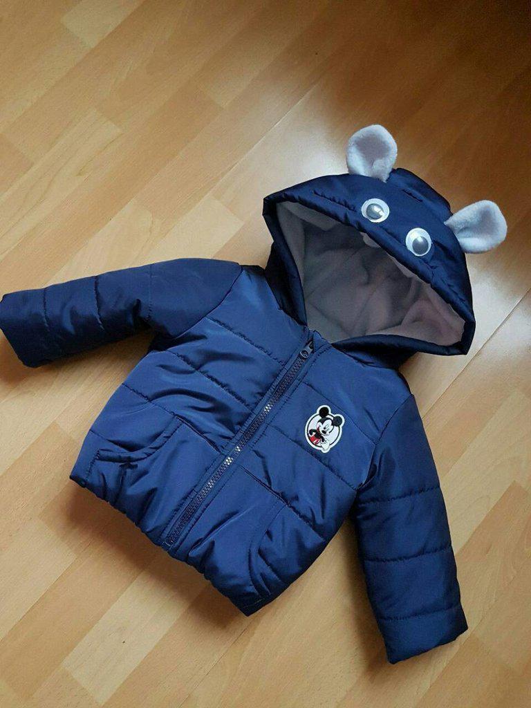 Куртка бомбер Ушки с капюшоном на флисе р-ры 74 80 86 92
