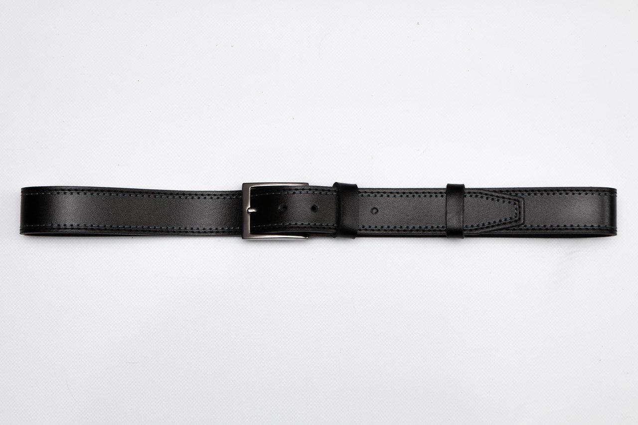 Ремень мужской кожаный на джинсы, черный прошитый