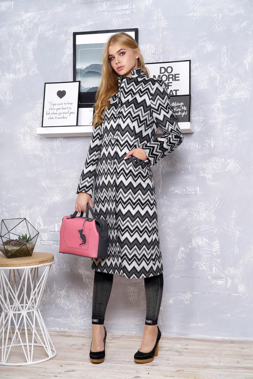 """Класичне жіноче демісезонне пальто """"Р-1"""" (італійська шерсть принт зигзаг)"""