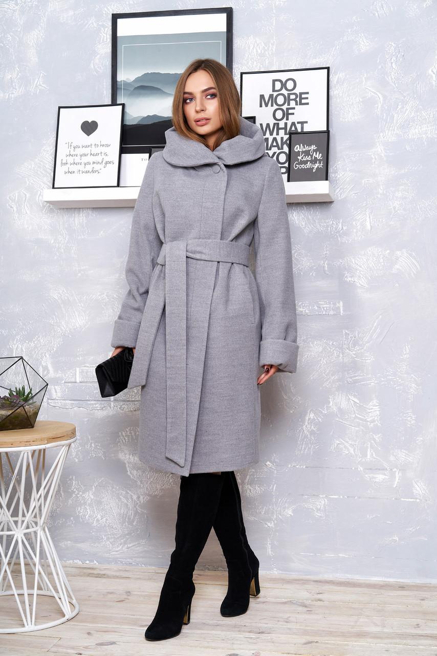 """Стильне жіноче пальто з коміром-капюшоном """"Р-4"""" (кашемір сірий)"""