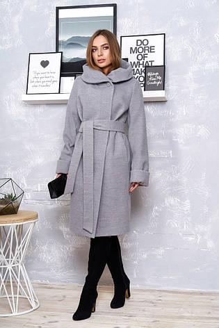 """Стильное женское пальто с воротником-капюшоном """"Р-4"""" (кашемир серый), фото 2"""