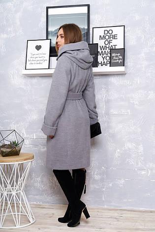 """Стильне жіноче пальто з коміром-капюшоном """"Р-4"""" (кашемір сірий), фото 2"""
