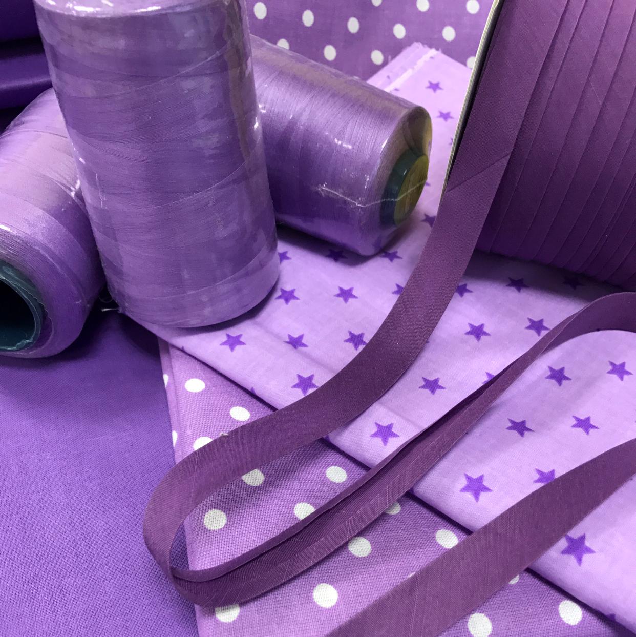 Косая бейка фиолетовая хлопковая