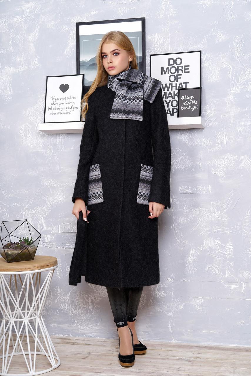 """Женское стильное пальто с шарфом """"Р-25"""" (шерсть чёрный)"""