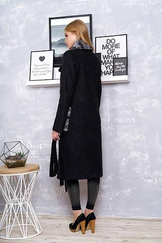 """Женское стильное пальто с шарфом """"Р-25"""" (шерсть чёрный), фото 2"""