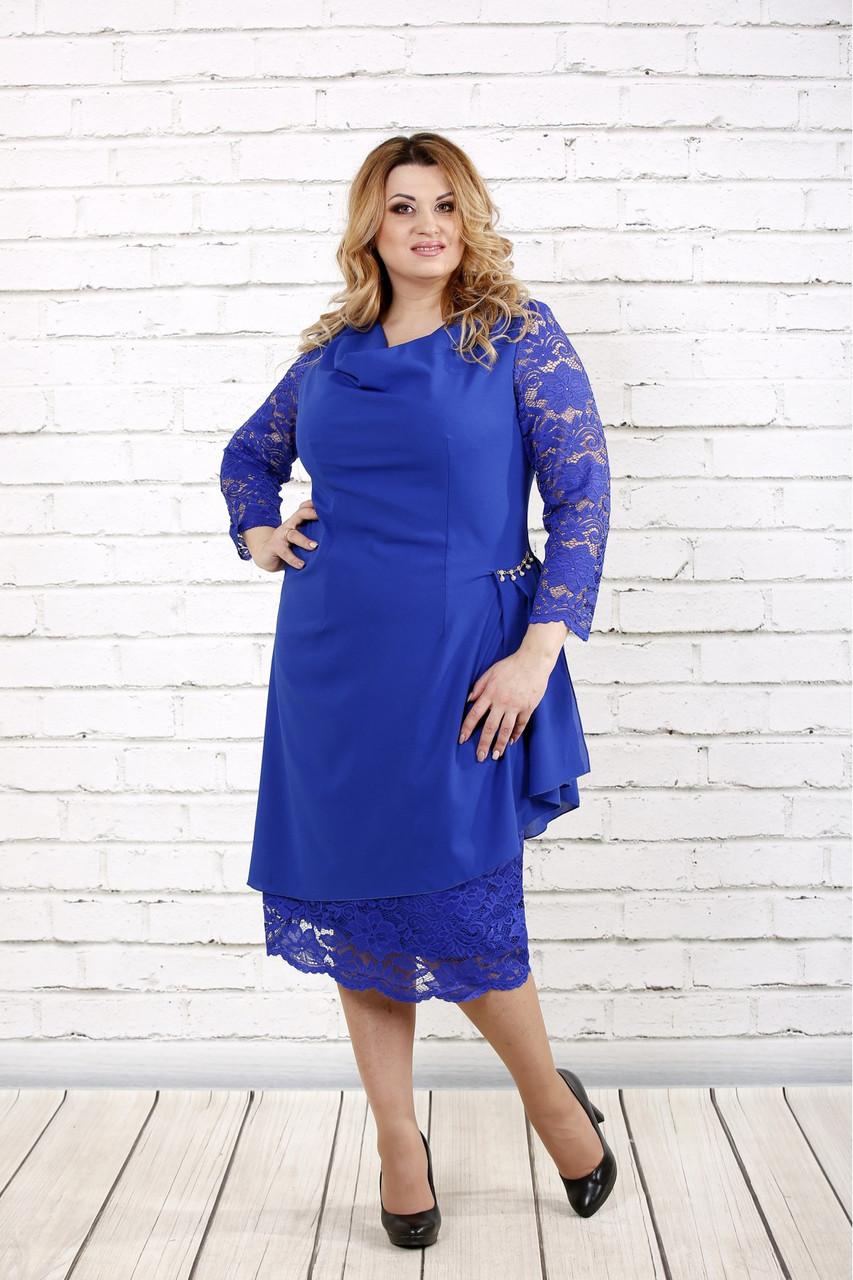 1b6b4251d47c3e3 Синее нарядное платье для полных женщин 0715: 830 грн. Купить в ...