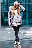 Женская зимняя куртка-полупальто Airos с мехом, фото 1