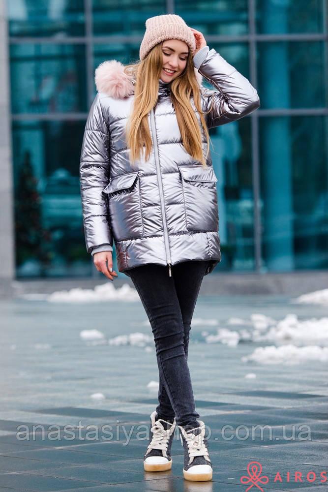 Женская зимняя куртка-полупальто Airos с мехом