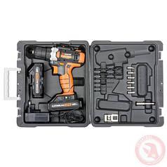 Шуруповерт аккумуляторный 18В, 0-900об/мин, c рег. крутящего момента, 2 аккум 1300мАч INTERTOOL WT-0314.00