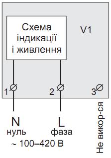 Упрощённая внутренняя схема и схема подключения вольтметра ZUBR V1