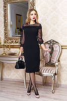 """Нарядное женское платье миди с прозрачными рукавами из сетки """"Дана"""" (черный)"""
