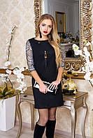 """Нарядное женское прямое платье под замшу с кружевными рукавами """"Бавер"""" (черный)"""