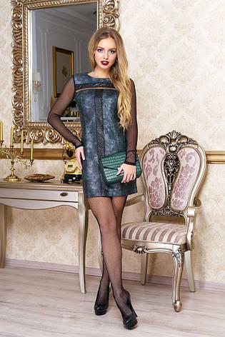 """Модное женское короткое платье из ангоры под кожу с длинным рукавом сеткой """"Джоанна"""" (зеленый), фото 2"""