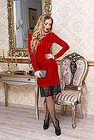 """Вечернее велюровое платье по фигуре с кружевом, длинный рукав """"Мэри"""" (красный)"""