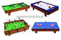 Настольная игра Bambi 4 в 1 (HG207-4): футбол на штангах, воздушный хоккей, теннис, бильярд