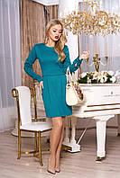 """Классическое женское однотонное платье-футляр с поясом, длинный рукав """"А-68"""" (зеленый)"""