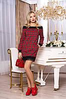 """Женское стильное платье с открытыми плечами и кружевом красное """"А-70"""" (клетка)"""