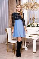 """Красивое женское вечернее платье трапеция с люрексом и гипюровым верхом """"А-71"""" (голубой)"""