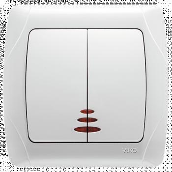 Выключатель CARMEN 2-й с/п бел. Код УКТ ЗЕД 8536508000