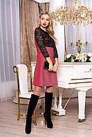 """Красивое женское вечернее платье трапеция с люрексом и гипюровым верхом """"А-71"""" (розовый)"""