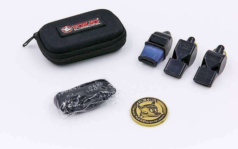 Свисток судейский пластиковый набор 3шт (на шнуре, 3 свистка, монета, чехол)
