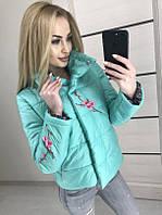 Молодежная куртка короткая с принтом  МЯТА 42-46 рр.