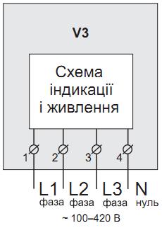 Упрощённая внутренняя схема и схема подключения трехфазного вольтметра ZUBR V3