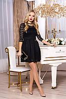 """Нарядное женское короткое платье с кружевом и пышной юбкой """"Ханна"""" (черный)"""
