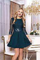 """Коктейльное приталенное платье выше колен с отделкой из экокожи """"Ярофея"""" (зеленый)"""