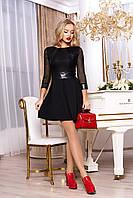 """Коктейльное приталенное платье выше колен с отделкой из экокожи """"Ярофея"""" (черный)"""