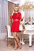 """Коктейльное приталенное платье выше колен с отделкой из экокожи """"Ярофея"""" (красный)"""