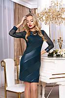 """Модное облегающее платье мини со вставками экокожи и сеткой """"Рио"""" (зеленый)"""