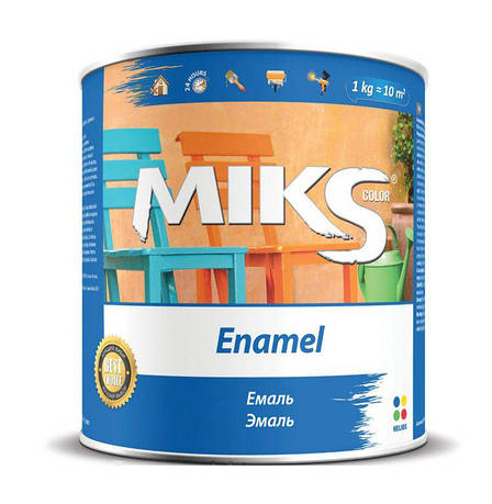 "Емаль алкідна ""Miks"" коричнева 0,9кг."
