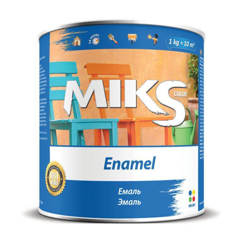 "Емаль алкідна ""Miks"" білі-зелена 0,9 кг."