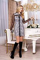 """Модное женское короткое платье из ангоры под кожу с длинным рукавом сеткой """"Джоанна"""" (меланж)"""