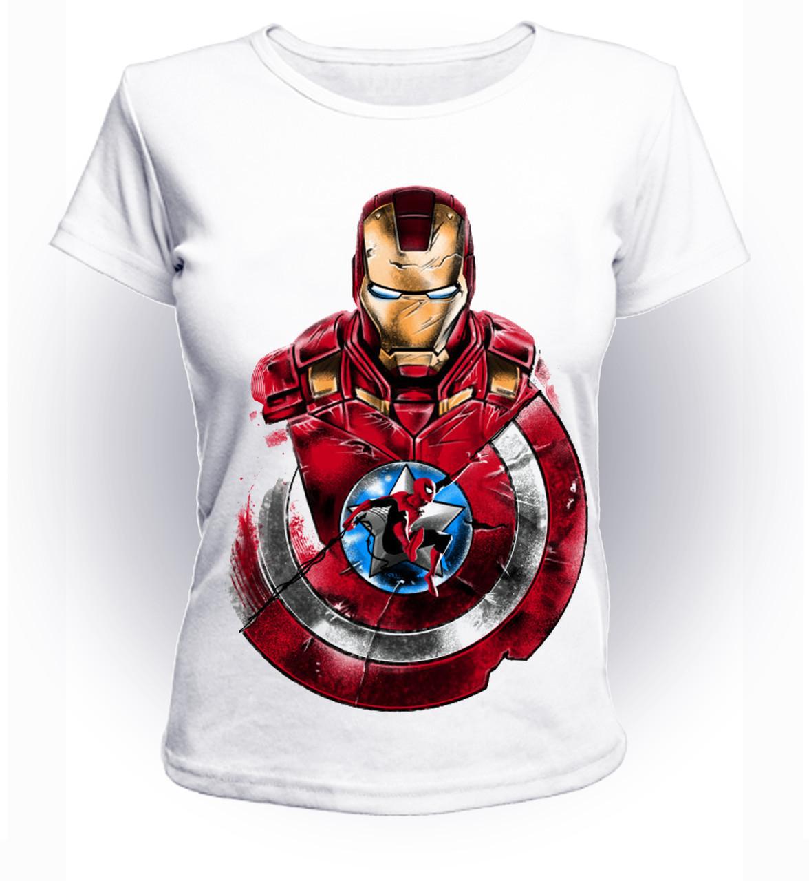 Футболка женская GeekLand Железный Человек Iron Man with shield and spidey art IM.01.063