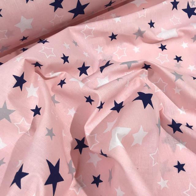 """Хлопок 50х40 см """"Звездопад на розовом"""" розовый"""