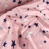 """Хлопок 50х40 см """"Звездопад на розовом"""" розовый, фото 1"""