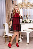 """Трендовое платье-трапеция с сеткой сверху и ажурным гипюром """"Соня"""" (красный)"""